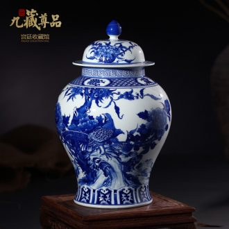 Jingdezhen ceramic vases, antique hand-painted blue and white porcelain painting of flowers and the general pot of tea pot home decoration furnishing articles