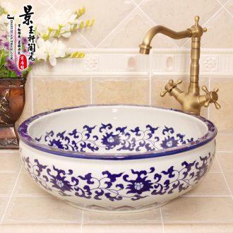 Jingdezhen ceramic lavatory basin basin art on the sink basin birdbath hand-painted archaize blue and white