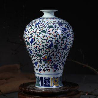 Jingdezhen ceramic flower vases, antique blue and white porcelain lotus flower plum bottle household handicraft furnishing articles