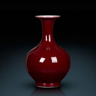 Jingdezhen ceramics pure color ji red vase decoration flower arranging rich ancient frame antique Chinese sitting room adornment is placed