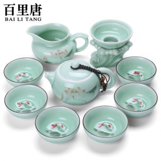 Thyme tang Japanese ceramic kung fu tea set hand-painted celadon 10 head of a complete set of tureen tea cups sea gift box
