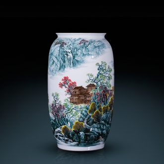 Jingdezhen ceramics famous master hand of large vases, mountain stream home sitting room adornment is placed