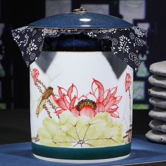 Jingdezhen ceramic hand-painted caddy receives puer tea cake tin POTS with big detong seal tea cake