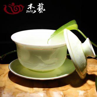 Jade art ceramic graven images tureen celadon anaglyph bowl three large white porcelain kung fu tea tea bowl to bowl
