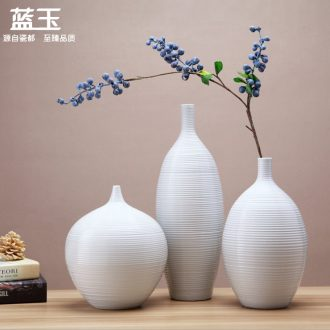 Jingdezhen ceramic vases, white European vase three-piece furnishing articles contracted sitting room between example home decoration