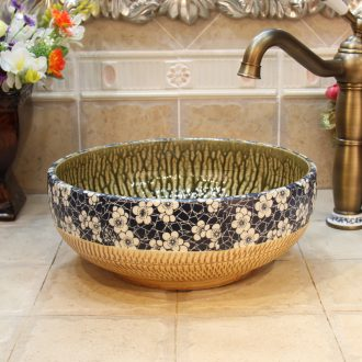 JingYuXuan jingdezhen ceramic lavatory basin basin art on the sink trumpet 34 jump cut ice plum