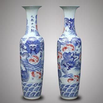 Jingdezhen ceramics 1 meter 8 dragon vase of large villa hotel lobby hall door opening gifts