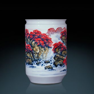 Jingdezhen ceramics famous hand-painted landing big vase high furnishing articles furnishing articles sitting room adornment calligraphy and painting scroll cylinder