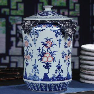 Jingdezhen ceramic hand-painted large tea cake tin tea caddy general gift box cake storage tanks