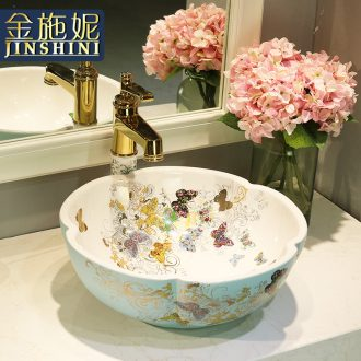 Gold cellnique jingdezhen ceramic bowl lavatory toilet lavabo art basin recent on stage
