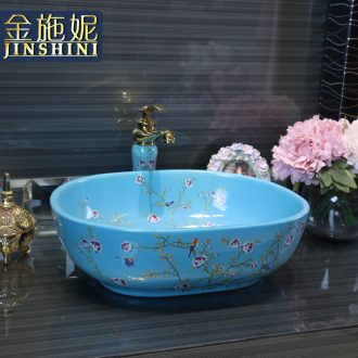 Gold cellnique colored flower stage basin ceramic lavatory oval blue wash basin sink fashion