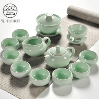 Porcelain god your kiln ceramic kung fu tea set household ice crack of a complete set of blue and white and purple sand cup lid bowl suit