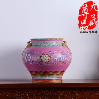 Jingdezhen ceramics powder imitation qing qianlong pastel to tie up yan ear cylinder vase household handicraft furnishing articles