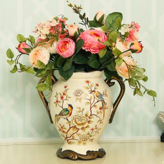 The fox Europe type restoring ancient ways large ceramic vase flower the American country flower arranging living room home decoration furnishing articles