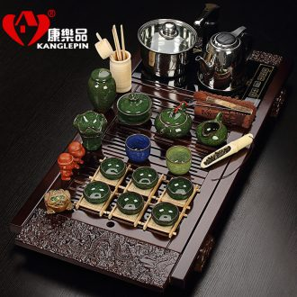 Recreational product four unity ice to crack a complete set of ceramic tea set solid wood tea tray electromagnetism kung fu tea set