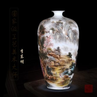 Jingdezhen ceramics dong-ming li hand-painted enamel vase and peaceful village household act the role ofing is tasted handicraft furnishing articles