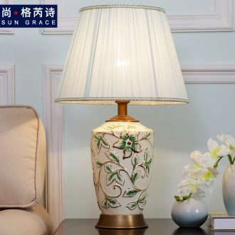 American simple ceramic desk lamp warm bedroom berth lamp sitting room study creative fashion vase decoration lamp