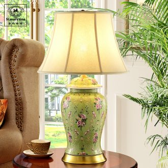 Green rural european-style full copper ceramic desk lamp sitting room bedroom home interior decoration of French bedside lamp oversized