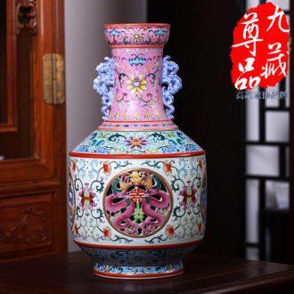 Jingdezhen ceramics imitation qing qianlong pastel switch hollow-out the revolving vase household adornment handicraft furnishing articles