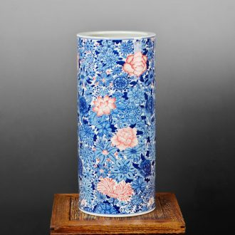 Jingdezhen ceramic vase Chinese hand-painted receive antique calligraphy and painting scroll of painting and calligraphy barrel cylinder barrel landing study furnishing articles