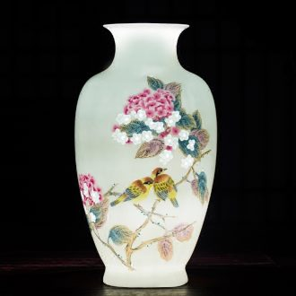 Jingdezhen ceramic vase pastel hand-painted thin foetus carving exquisite modern Chinese style living room porch decoration furnishing articles