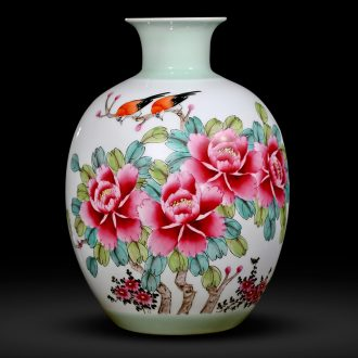 Jingdezhen ceramics hand-painted enamel vase flower arranging furnishing articles peony antique Chinese style household act the role ofing is tasted in the living room