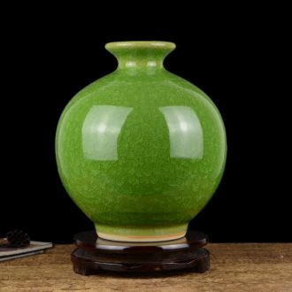 Jingdezhen ceramics, antique green crystal vase Chinese style living room TV cabinet rich ancient frame porch place