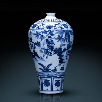 Jingdezhen ceramics hand-painted archaize yuan blue and white porcelain vase Xiao Heyue next after han xin sitting room adornment is placed