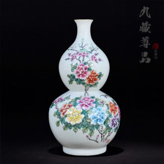 Jingdezhen ceramics antique hand-painted famille rose blooming flowers gourd marriage room TV ark handicraft furnishing articles