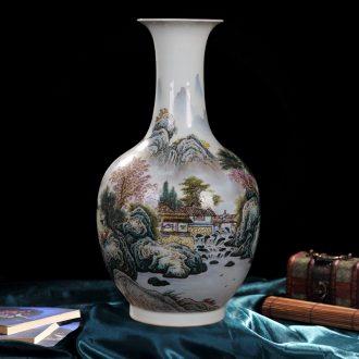 Jingdezhen ceramic vase high-end antique pastel design home decoration process antique collection furnishing articles