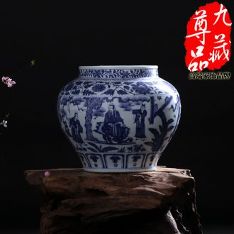 Imitation of yuan blue and white porcelain of jingdezhen ceramics of three lines can vase household adornment handicraft furnishing articles