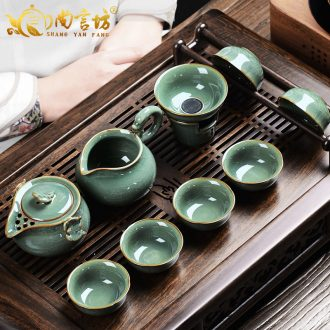 It still fang open the slice of a complete set of kung fu tureen hand grasp the teapot pot of celadon imitation song dynasty style typeface elder brother kiln ceramic tea set
