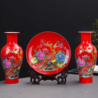 Jingdezhen ceramics painting of flowers and red three-piece vase furnishing articles of modern Chinese style sitting room adornment is placed gifts