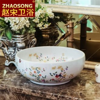 Chinese style European rural wind large ceramic stage basin washing a face basin round toilet lavabo basin 40 cm