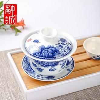Melts if tea tureen tea bowl large jingdezhen blue and white porcelain bowl of ceramic cups three finger bowl to bowl