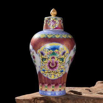 Jingdezhen ceramic high-end antique qianlong gold bottle plum colored enamel vase household adornment process sitting room furnishing articles