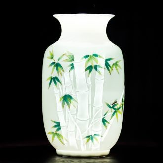 Jingdezhen ceramics vase furnishing articles hand-painted thin foetus bamboo carving craft pervious to light the Christmas decoration business gifts