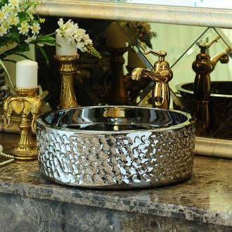 Jingdezhen rain spring bath on the ceramic bowl silver art basin bathroom sinks round small lavabo