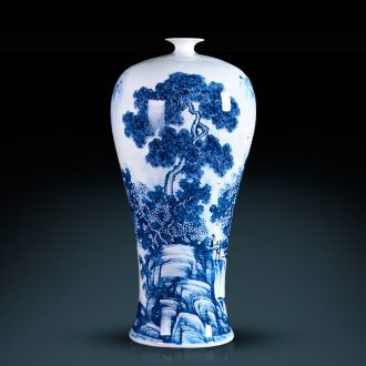 Jingdezhen ceramics famous hand-painted flower arranging device of blue and white porcelain vase furnishing articles rich ancient frame sitting room decoration