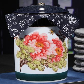Jingdezhen ceramic hand-painted POTS puer tea cake caddy jar airtight receives domestic large tea tea cake