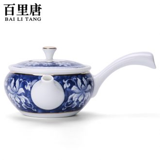 In tang dynasty the icing on the cake of blue and white porcelain ceramic teapot kung fu tea set side to make tea pot of household big pot