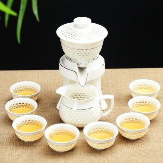 Qin Yi semi-automatic water all ceramic tea set tureen tea cups and exquisite hollow out lazy kung fu tea