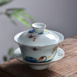 Gorgeous young ding kiln porcelain tureen kung fu tea set the colour celadon ceramic bowl three to bowl to bowl tea cup