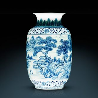 Jingdezhen ceramics hand-painted scenery blue and white porcelain vase thin foetus Chinese style classical home sitting room adornment is placed