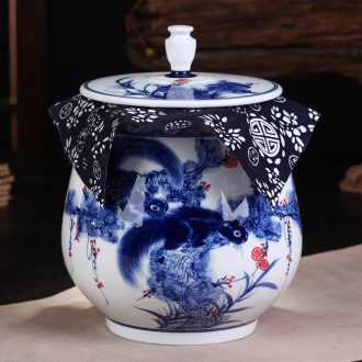 Jingdezhen ceramic hand-painted porcelain squirrel seal POTS pu large tea packaging household caddy