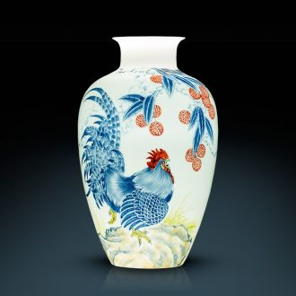Jingdezhen ceramics furnishing articles by hand-painted prosperous vases, flower implement household of Chinese style decoration as gifts