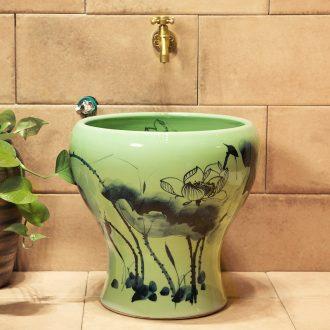 M beautiful ceramic art basin mop mop pool ChiFangYuan one-piece mop pool of 40 cm diameter ink lotus