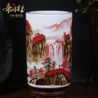 Jingdezhen ceramics kiln hand painting and calligraphy master cylinder quiver of calligraphy and painting scroll cylinder storage tank of large vase