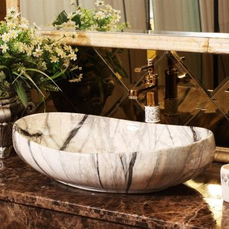 Marble basin stage art oval european-style bathroom ceramic lavatory basin that wash a face to wash your hands of household balcony