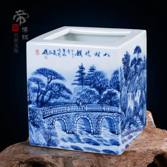 Jingdezhen ceramics famous works hand-painted traditional Chinese painting landscape square vase vases, decorative arts and crafts